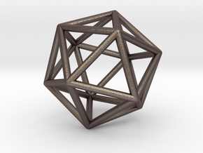 Icosahedron Pendant in Polished Bronzed Silver Steel