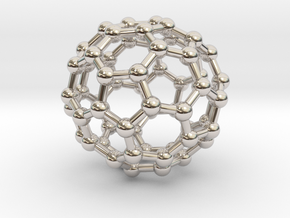 Buckyball C60 Molecule Necklace in Rhodium Plated Brass