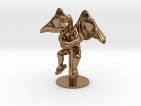 Flying Winged Kobold with Rock in Natural Brass