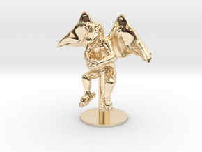 Flying Winged Kobold with Rock in 14k Gold Plated Brass