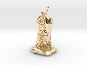 Human Ranger with Sword and Shield in 14k Gold Plated Brass