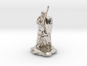 Human Ranger with Sword and Shield in Rhodium Plated Brass