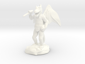 Winged Kobold with Dagger And Rock in White Processed Versatile Plastic