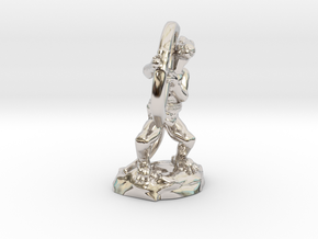 Kobold Archer Crouching  in Rhodium Plated Brass