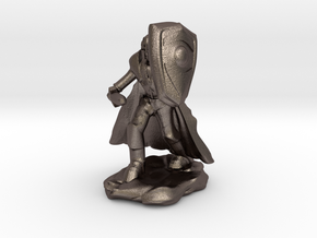 Human Paladin in Plate with Sword and Shield in Polished Bronzed Silver Steel