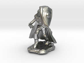 Human Paladin in Plate with Sword and Shield in Natural Silver
