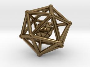Icosahedron jingle bell pendant in Interlocking Polished Bronze