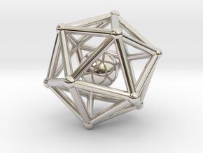 Icosahedron jingle bell pendant in Platinum