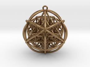 Planetary Merkaba w/ nested FOL 64 Tetrahedron in Natural Brass