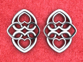 Heart Motif Earring in Polished Silver