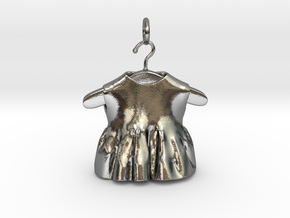 baby dress bell pendant (updated) in Interlocking Polished Silver