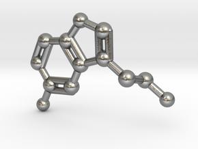 Serotonin Molecule Keychain Necklace in Raw Silver