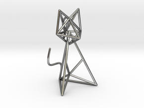 Wireframe Cat in Interlocking Polished Silver