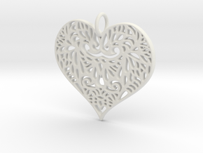 Beautiful Romantic Lace Heart Pendant Charm in White Natural Versatile Plastic