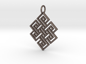 Endless Knot Religious Pendant Charm in Polished Bronzed Silver Steel