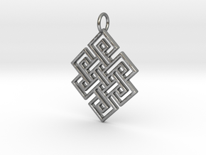 Endless Knot Religious Pendant Charm in Natural Silver