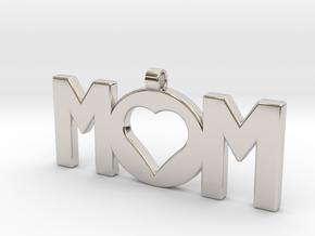 Mom Pendant in Rhodium Plated Brass