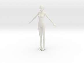 1/12 Teen Female Figure for Scale Modeling in White Natural Versatile Plastic