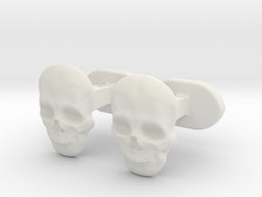 Skull face cufflinks in White Natural Versatile Plastic