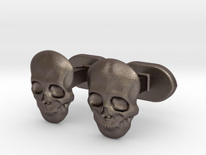 Skull face cufflinks in Polished Bronzed Silver Steel