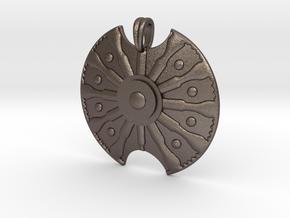 Troy Shield Pendant in Polished Bronzed Silver Steel