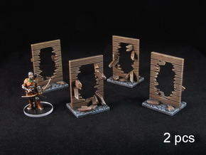 Broken Walls tokens (28-32mm scale) in White Processed Versatile Plastic: Small