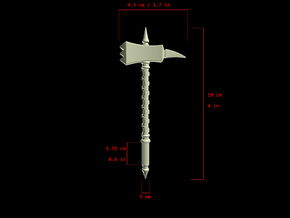 Action Figure Weapon: Warhammer (5 mm peg) in White Processed Versatile Plastic