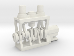 3D Printed Engine in White Natural Versatile Plastic