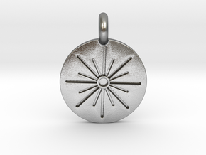 sun pendant 30mm in Natural Silver