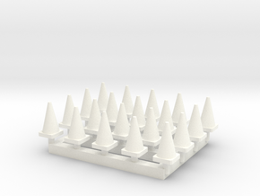 N Scale 20 Traffic Cones in White Processed Versatile Plastic