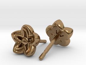 Kanzashi Earrings in Natural Brass