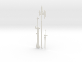 """BotW"" Knight's Weapons Set in White Natural Versatile Plastic: 1:12"