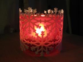 Snowflake Tea Light Ring in White Strong & Flexible