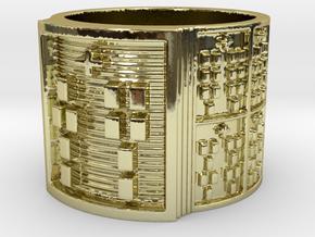OJUANIALAKENTU Ring Size 13.5 in 18k Gold Plated Brass