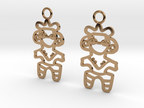 Dogu Earrings in Polished Brass