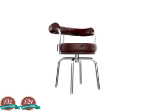 Miniature LC7 Chair - Le Corbusier in White Natural Versatile Plastic: 1:24