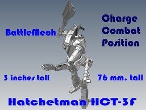 3 inch BattleMech Hatchetman Combat in White Strong & Flexible