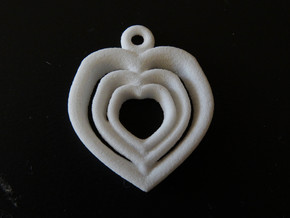 Love Heart pendent necklace 3 Heart design Small in White Natural Versatile Plastic