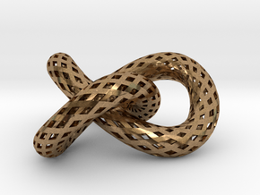 Trefoil knot, strips in Natural Brass