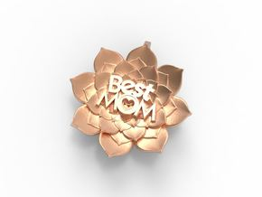 Mother's Day - Flower Pendant #BestMom in Polished Bronze