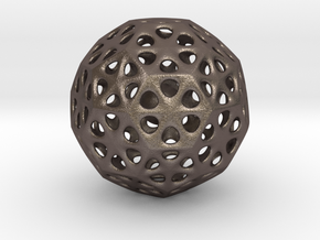 Mystic Icosahedron, Enclosing Small Solid Sphere in Polished Bronzed Silver Steel
