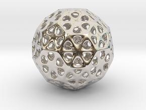 Mystic Icosahedron, Enclosing Small Solid Sphere in Platinum