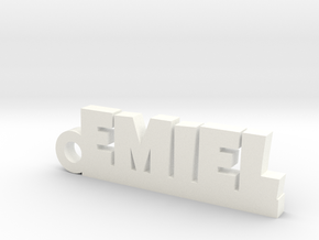 EMIEL Keychain Lucky in White Strong & Flexible Polished