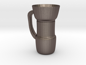 Coffee Cup in Polished Bronzed Silver Steel