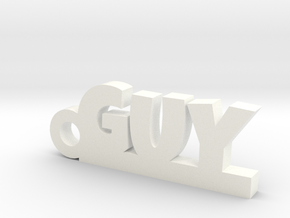 GUY Keychain Lucky in White Strong & Flexible Polished