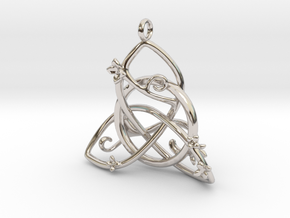 Budding Trinity Pendant in Rhodium Plated Brass