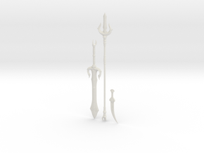 """BotW"" Gerudo Weapons Set in White Natural Versatile Plastic: 1:12"