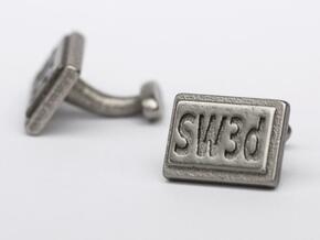 Custom cufflink nr.13 in Polished Bronzed Silver Steel