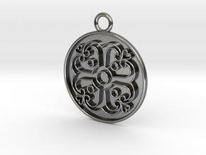 Pendant Swirled Cross in Polished Silver