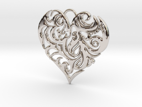 Beautiful Romantic Floral Heart Pendant Charm in Rhodium Plated Brass